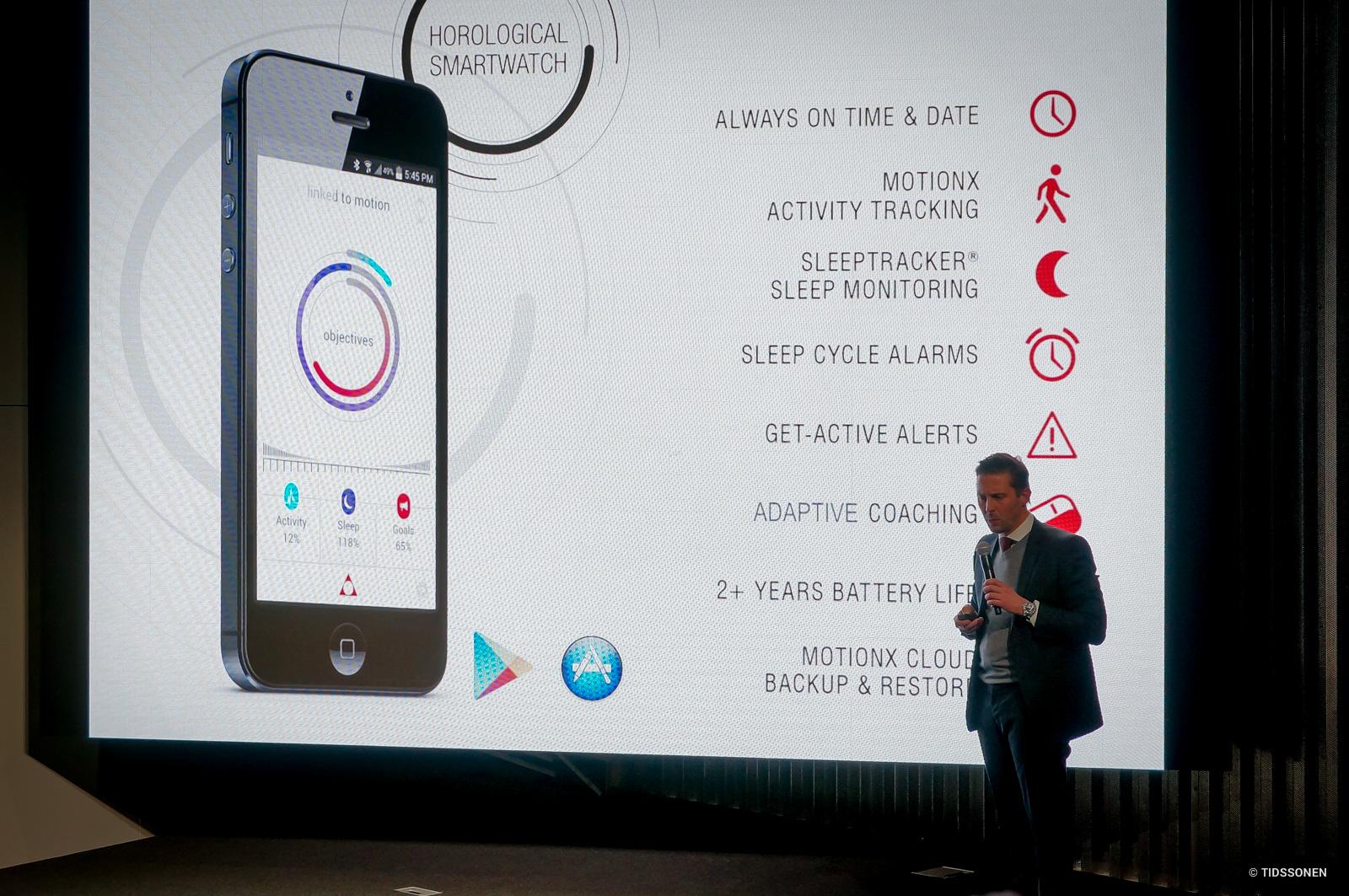 Guido Benedini forklarer funksjonene i den nye Horological Smartwatch.